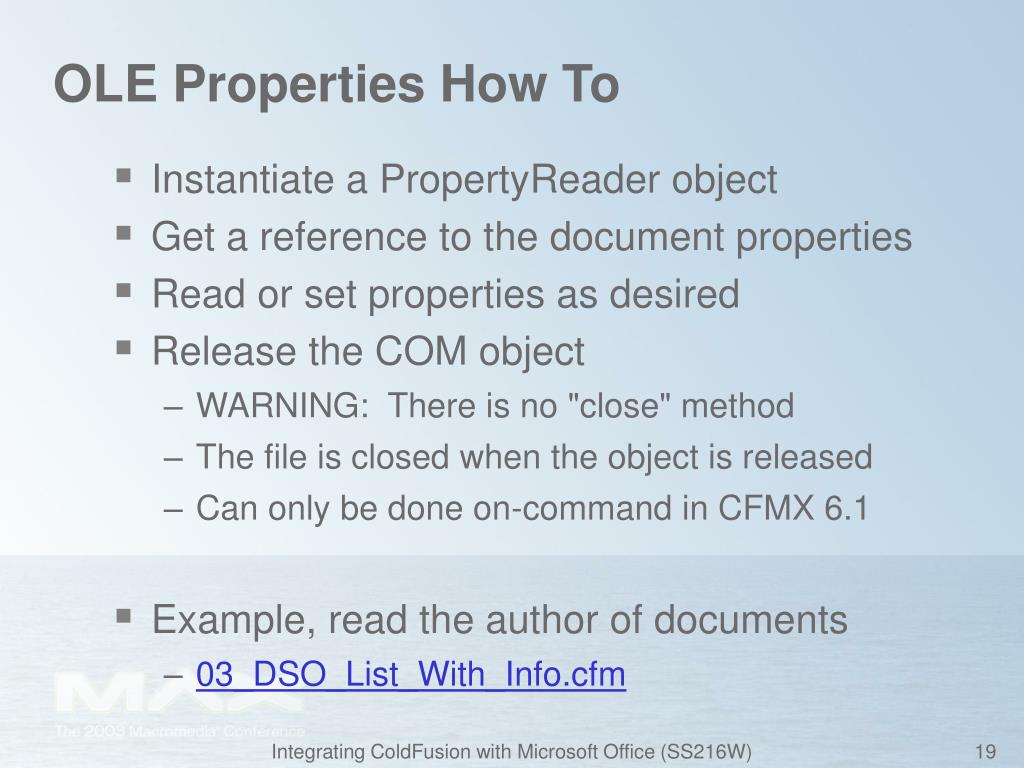 OLE Properties How To