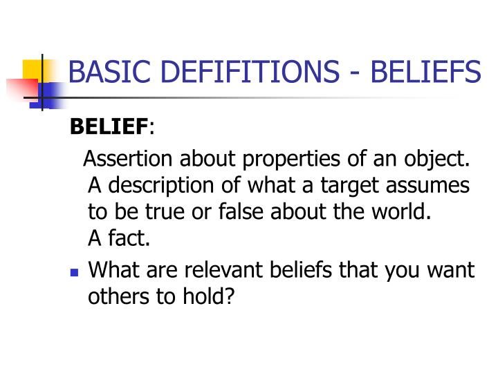 Basic defifitions beliefs