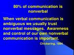 80 of communication is nonverbal