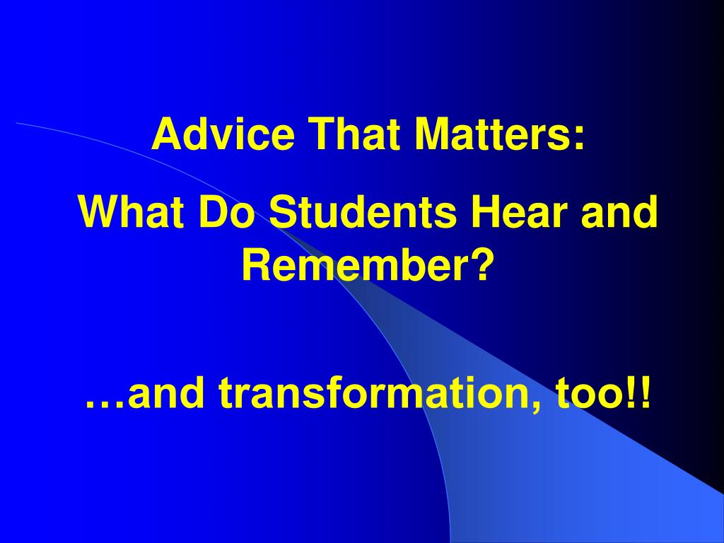 advice that matters l.