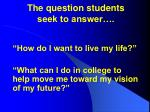 the question students seek to answer
