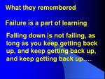 what they remembered failure is a part of learning