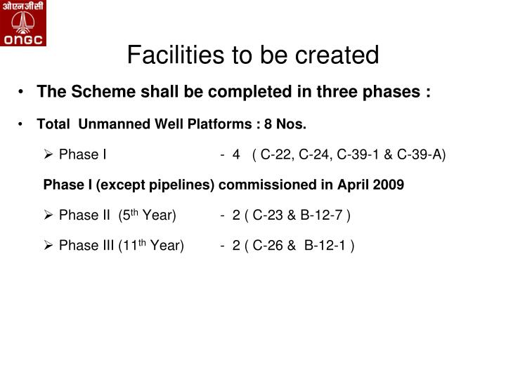 Facilities to be created
