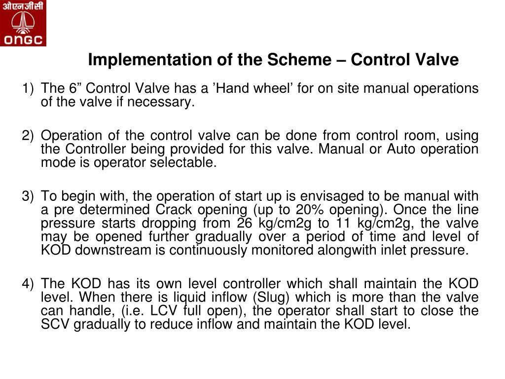 Implementation of the Scheme – Control Valve