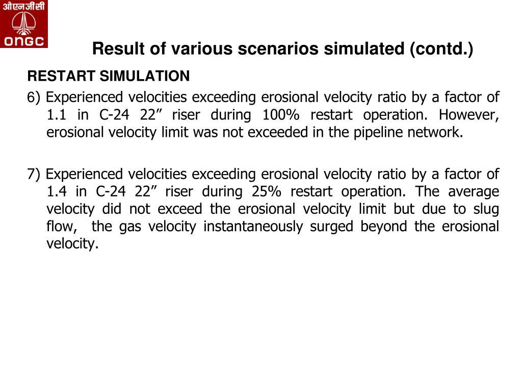 Result of various scenarios simulated (contd.)