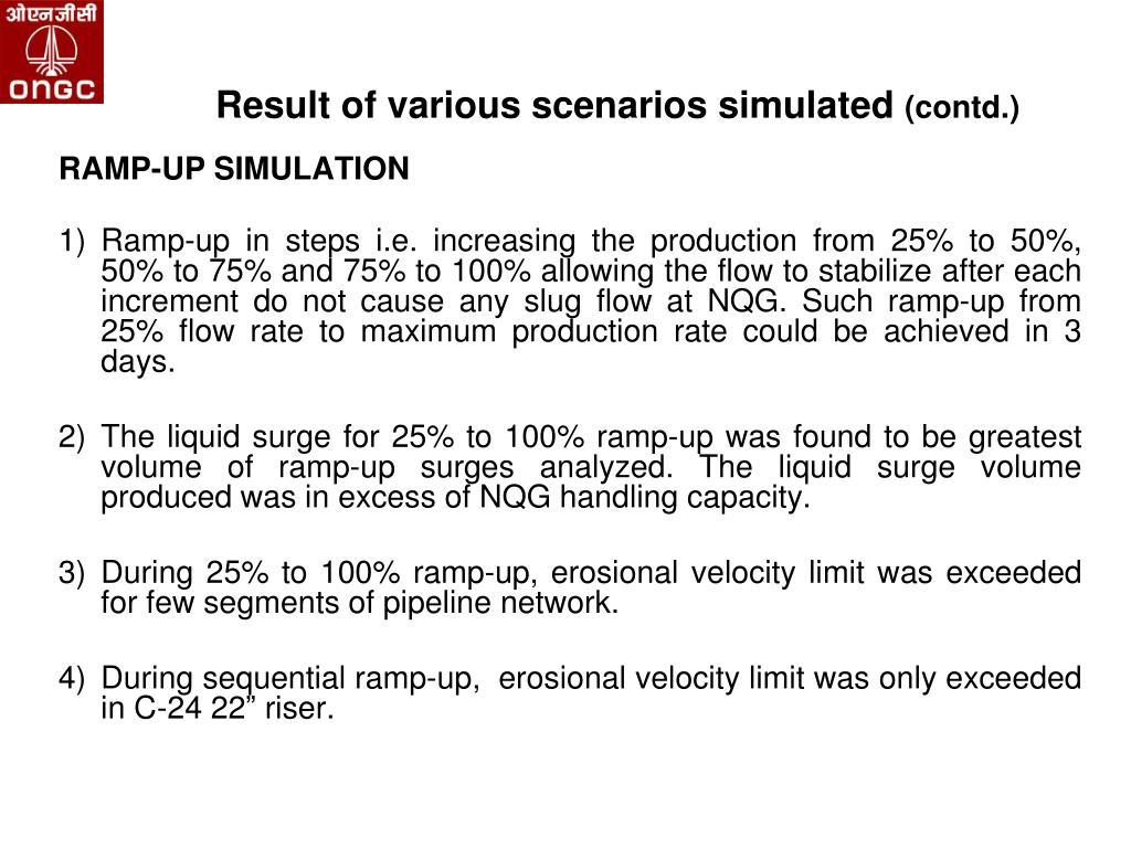 Result of various scenarios simulated