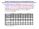 results predicting adolescent friendship outcomes
