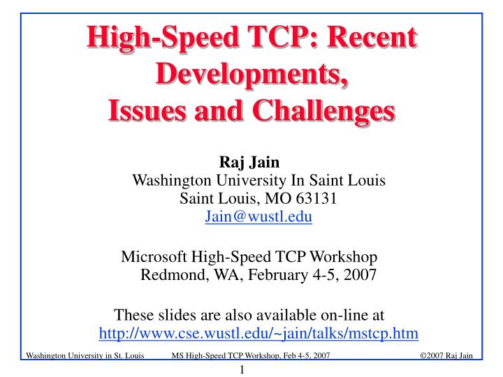 high speed tcp recent developments issues and challenges n.