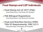 food stamps and lep individuals