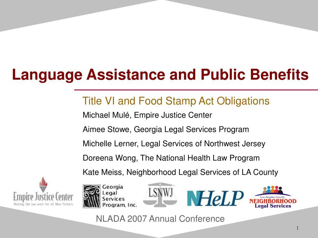 language assistance and public benefits l.