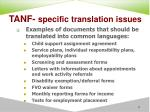 tanf specific translation issues