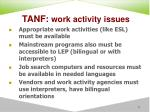 tanf work activity issues