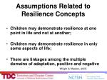 assumptions related to resilience concepts