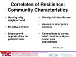 correlates of resilience community characteristics