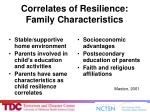 correlates of resilience family characteristics