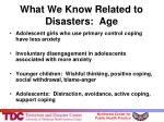 what we know related to disasters age