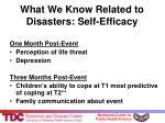 what we know related to disasters self efficacy