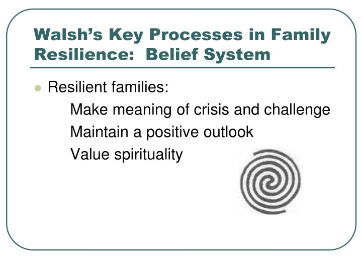 Walsh's Key Processes in Family Resilience:  Belief System