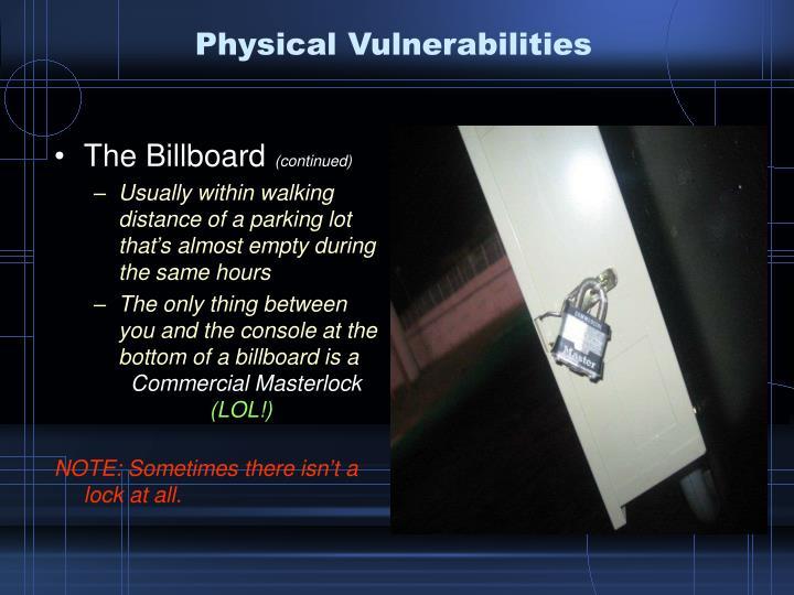 Physical Vulnerabilities