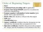 order of beginning targets