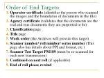 order of end targets