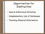 opportunities for instruction