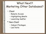 what next marketing other databases