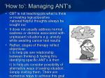 how to managing ant s16