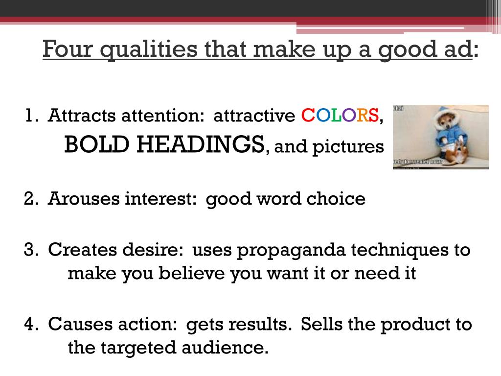 Four qualities that make up a good ad