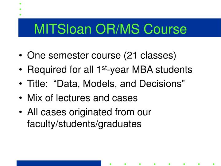 MITSloan OR/MS Course