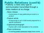 public relations cont d