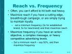 reach vs frequency