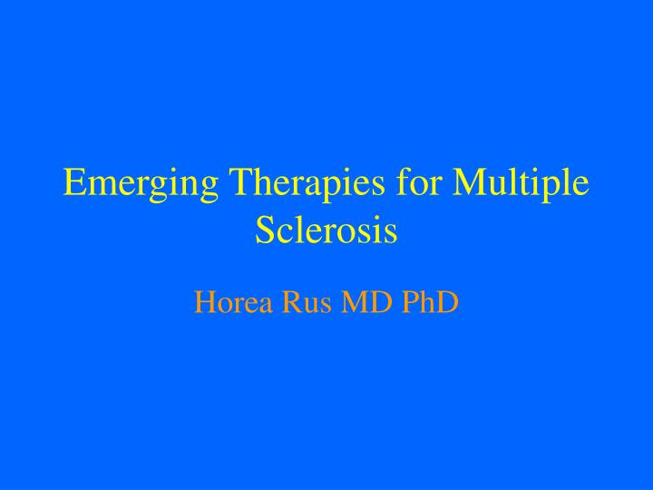 emerging therapies for multiple sclerosis n.