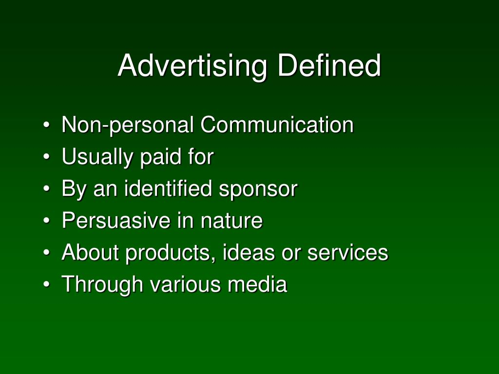 Advertising Defined