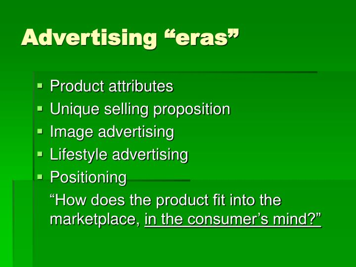 """Advertising """"eras"""""""