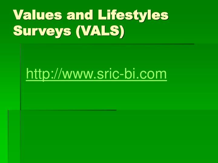 Values and Lifestyles Surveys (VALS)
