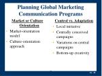 planning global marketing communication programs