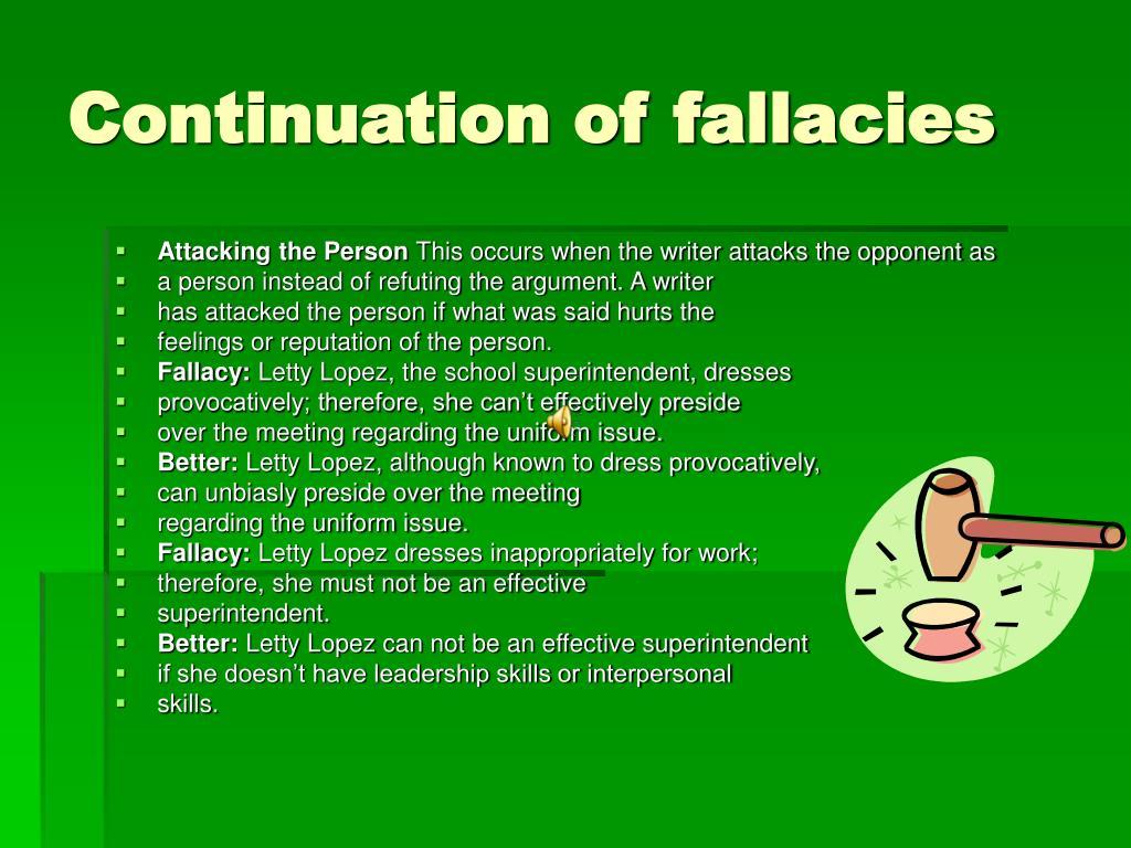 Continuation of fallacies