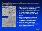 residual aluminum modifies the microstructure development