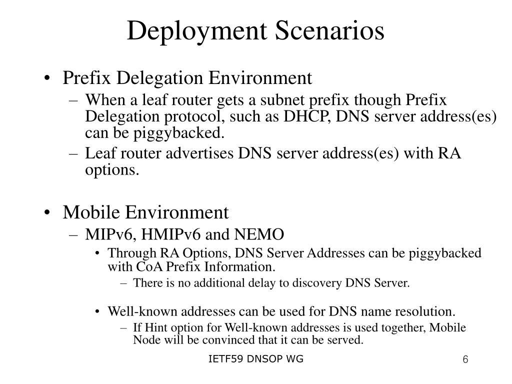 Deployment Scenarios