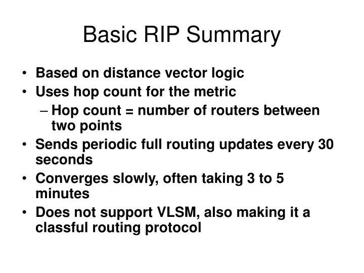 Basic RIP Summary