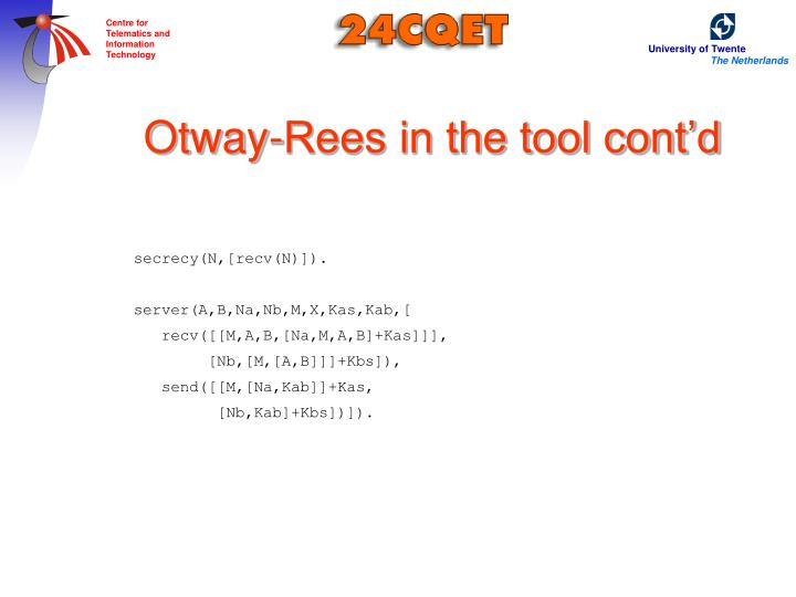 Otway-Rees in the tool cont'd