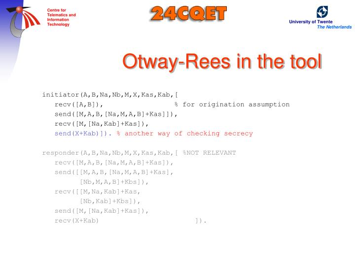 Otway-Rees in the tool