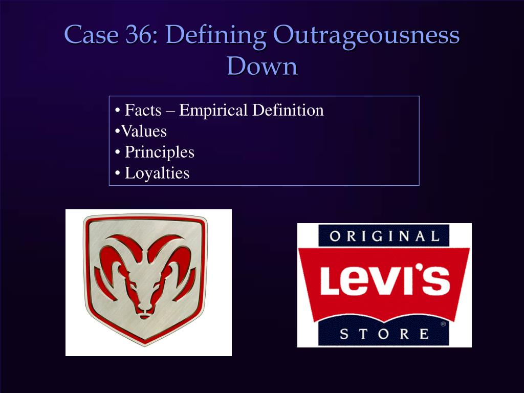 Case 36: Defining Outrageousness Down