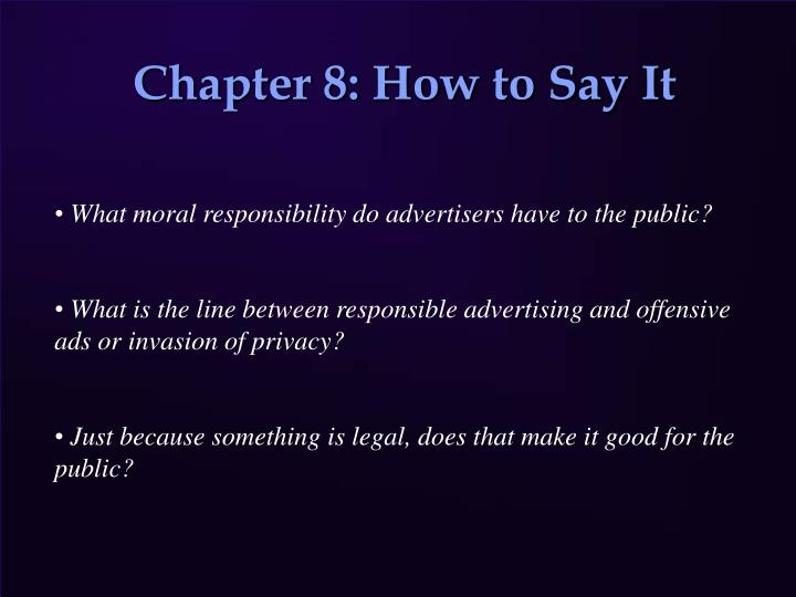 Chapter 8 how to say it
