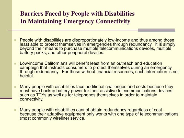 Barriers faced by people with disabilities in maintaining emergency connectivity