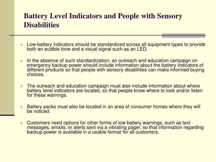 Battery Level Indicators and People with Sensory Disabilities