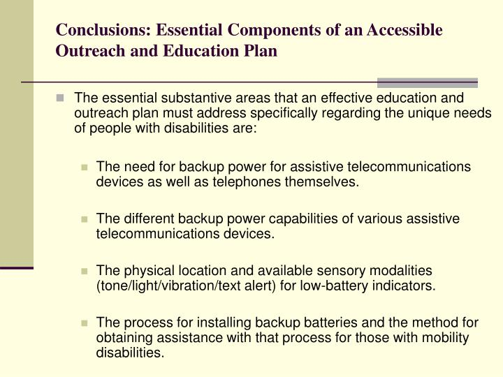 Conclusions: Essential Components of an Accessible Outreach and Education Plan