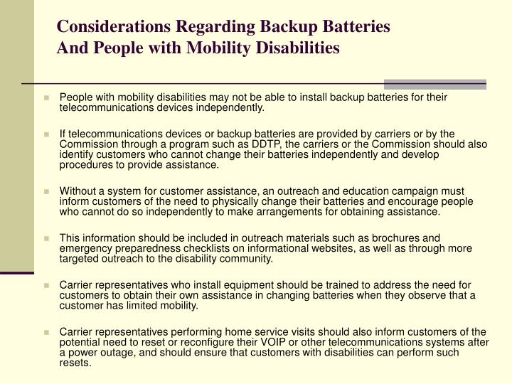 Considerations Regarding Backup Batteries