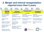 2 merger and internal reorganization required more than 2 years